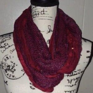 Basha Burgundy Woven Infinity Scarf-Embellishments